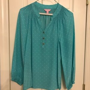 Lilly Pulitzer XS light blue polka dot blouse